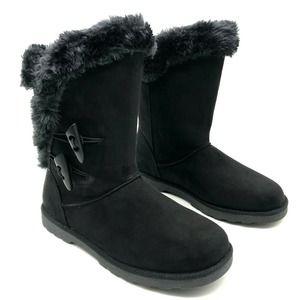 Falls Creek Faux Fur Black Suede Winter Boots 7-11